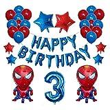 Yinyimei Globos 42pcs / Set lámina de araña Hombre Globos 30 Pulgadas Número 1 2 3 4 Captura de la Fiesta de cumpleaños Decoraciones de los niños Decoración de Globos de Aire (Color : Deep Blue)