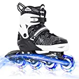 Nattork Black Adjustable Inline Skates for Kids with Full Light up Wheels,Fun Illuminating Roller Skates for Boys and Girls,Youth and Beginners
