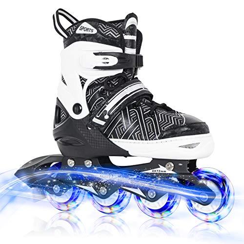 Nattork Black Adjustable Inline Skates for Kids with Full Light up...