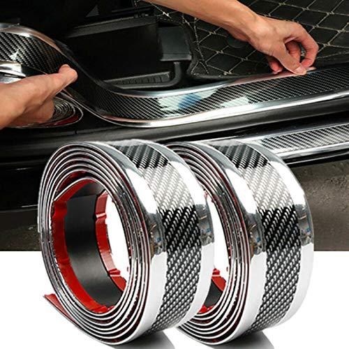 Wination Fibra de carbono vinilo umbral de la puerta del coche Scuff Plate etiqueta engomada protector piezas accesorios