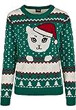 Urban Classics Pullover Ladies Kitty Christmas Ugly Sweater Sudadera, Multicolor (X-Masgreen 02365), Small para Mujer