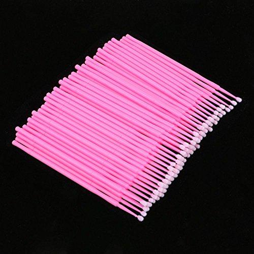 HuntGold 100 pièces micro pinceaux jetable écouvillon applicateur des yeux cils extension rose