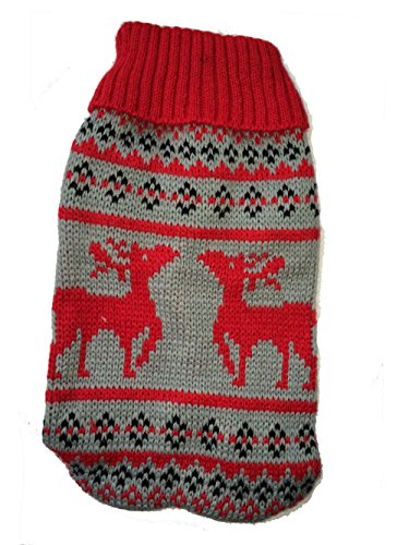 Naturhaus Hildegard Chihuahua Pullover | Hochwertige Hundebekleidung | süßer Norweger Winterpulli für kleine Hunde (rot grau)