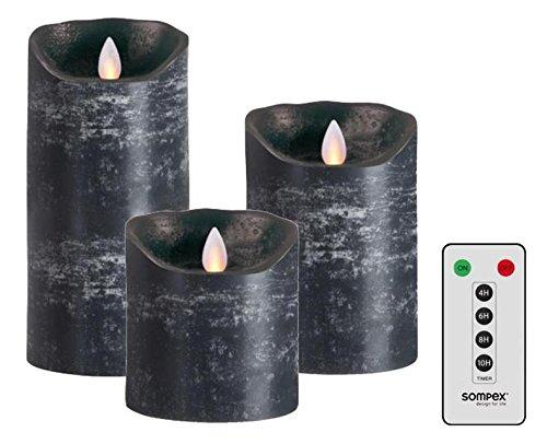 sompex 3er Set Flame LED Echtwachskerzen anthrazit 10/12,5/18cm mit Fernbedienung