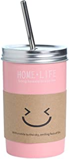 16oz Ceramic Tumbler with Lid and Straw, Coffe Tea Milk Juice Mug Simple Design Novelty Drinking Tumbler (Pink)
