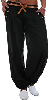 WSPLYSPJY Womens Solid High Waist Sport Harem Pants Trousers with Belt 2 Small