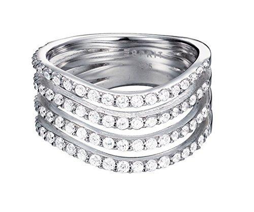 Esprit Essential Damen-Ring ES-GLEAMING WAVE 925 Silber rhodiniert Zirkonia transparent