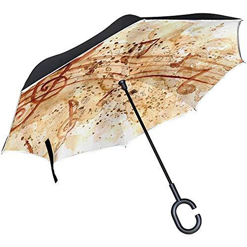 Jacque Dusk Regenschirm-Inverted Umbrella Grunge Papier Kaffeeflecken Musiknoten Uv Anti Windproof Reverse Taschenschirme Mit C-Form Griff