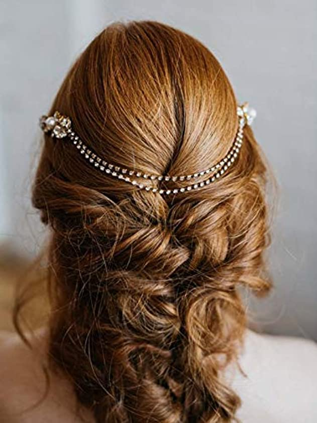 病気呼びかける世辞Aukmla Wedding Hair Accessories Flower Hair Combs with Chain Decorative Bridal for Brides and Bridesmaids (Silver) [並行輸入品]