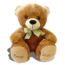 Stofftier Teddy B/är Geschenk mit Namen und Geburtsdatum personalisiert 25cm