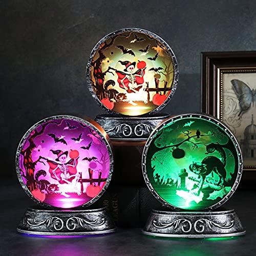 CKAN Halloween Vintage Night Light Calabaza Luz LED Escritorio Brillante Adornos Retro Artesanía Alimentada Batería para Halloween Decoración Fiesta