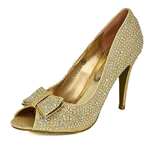 Damskie diamentowe zdobione peep Toe wysokie obcasy szpilki błyszczące buty wieczorowe wesele okazja sąd buty, - Złoty - 36 EU