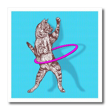 3dRose ht_223279_1 Funky Cat Playing with Pink Hula Hoop Over Blue Polka Dots Iron on Heat Transfer for White Material, 8' x 8'