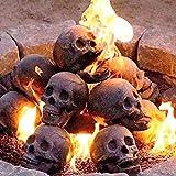 Wharick 1 x Feuerfester Feuerschädelkopf aus Keramik, realistischer Totenkopf-Ornament, kompakter Ton, tragbar, Mini-Skulptur für Kamin, dunkelgrau