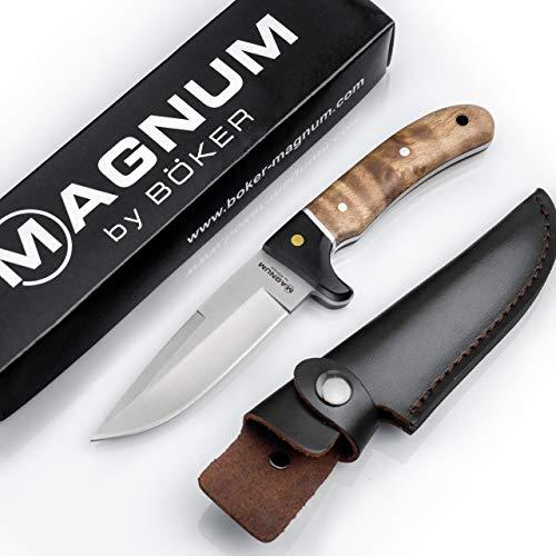 Magnum BÖKER Elk Hunter scharfes Fahrtenmesser - Robustes Jagdmesser mit Leder-Scheide - feststehendes Messer mit Parierelement