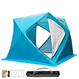Popsport Ice Fishing Tent 3/4/8 Person Thicken Waterproof Pop-up Portable Ice Fishing Shelter with Detachable Ventilation Windows Carry Bag Frost Resisting Oxford Fabric Zippered Door (Blue 3 People)