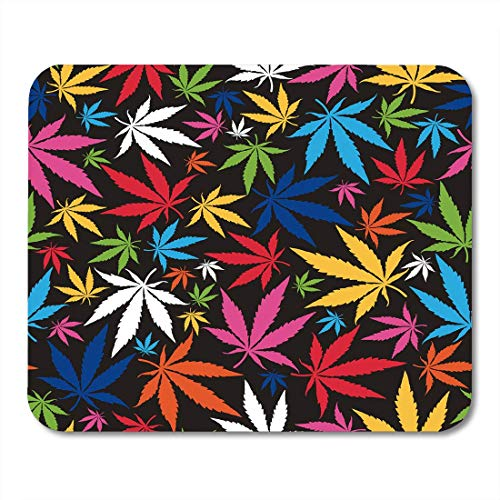 AOHOT Tappetini per Il Mouse Weed Colorful Cannabis Leaves on Pattern Marijuana Ganja Smoke Leaf Mouse Pad 9.5' x 7.9' for Notebooks,Desktop Computers Accessories Mini Office Supplies Mouse Mats