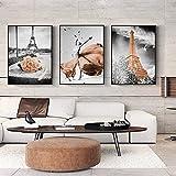 Torre de la Ciudad Paisaje bailarín Paisaje Lienzo Pintura Arte de la Pared Imagen para Sala de Estar Decoración del hogar-50x70cmx3 sin Marco