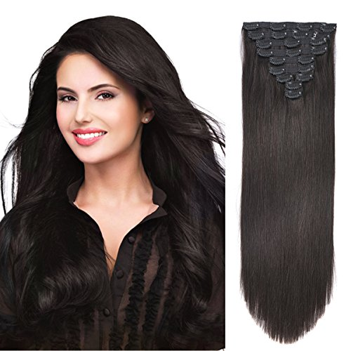 20' Clip in Hair Extension Human Hair Extensions Clip on for Fine Hair Full Head Off Black #1B...