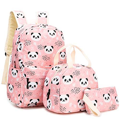 lijun 3pcs Cute Panda Pattern School Backpack Laptop Daypack Lunch Bag Pencil Case