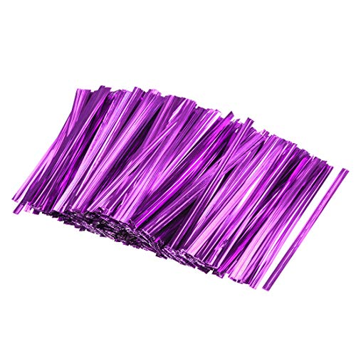 uxcell 3 Inches Metallic Twist Ties for Bags Purple 1000pcs
