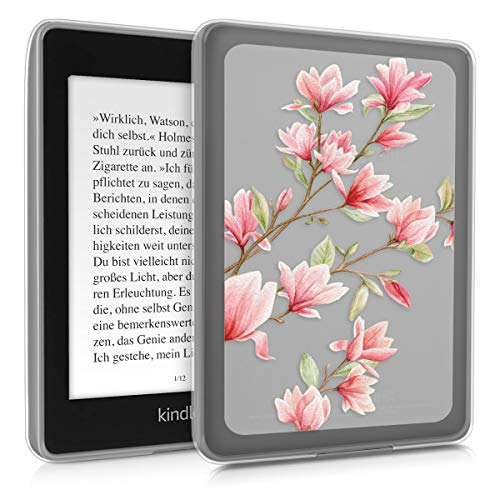 kwmobile Case Compatible with Amazon Kindle Paperwhite (10. Gen - 2018) - TPU Silicone eBook Cover - Magnolias Light Pink/White/Transparent