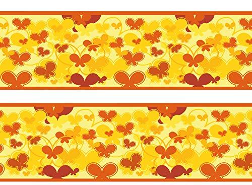 wandmotiv24 Bordüre Schmetterlinge Gelb 260cm Breite - Vlies Borte Tapetenbordüre Bordüren Borde Wandborde Muster orange Falter M0024