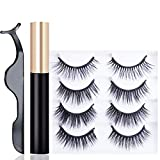 Magnetic Eyelashes With Eyeliner-4 Pair Magnetic Eyelashes Natural Look-4 Style Fake Eyelashes For Women, Pestañas Postizas Naturales, Magnetic Lashes And Eyeliner, Magnetic Eyeliner And Lashes Pack