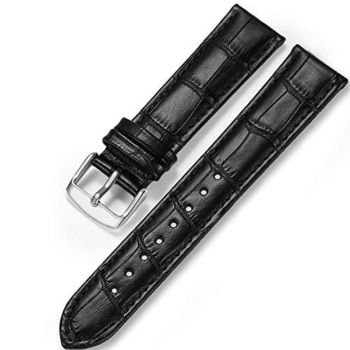 iStrap Uhrenarmbänder Krokodilmuster Echtes Leder Edelstahlschnalle Armband für Männer Frauen-18mm 19mm 20mm 21mm 22mm 24mm- Schwarz Braun