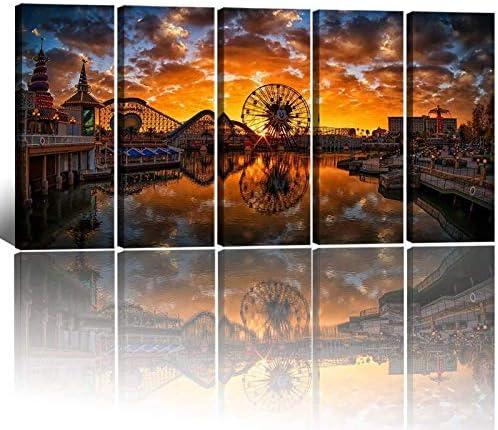 Large Canvas Art Prints Dusk Scenery Wall Art Disney Castle Mickey Ferris Wheel Sunset Lake product image