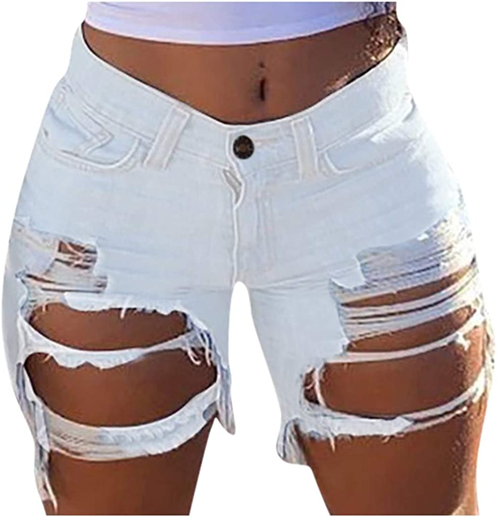 Denim Shorts for Women,Women's Slim Hole Frayed Raw Hem Casual Denim Shorts Ripped Short Jeans with Pockets