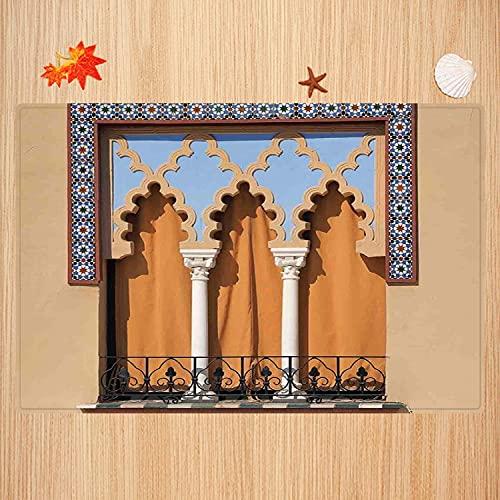 Alfombra de baño Antideslizante,Arábigo, Ventanas Antiguas en Estilo árabe en Córdoba España Balcones de Fondo de la Ciudad, aren Apto para Cocina, salón, Ducha (50x80 cm)