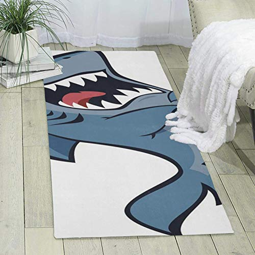 Marine Cartoon Predator Shark Indoor Carpet, Children's Living Room Bedroom Office Sofa Carpet 70' X 24' X 6mm