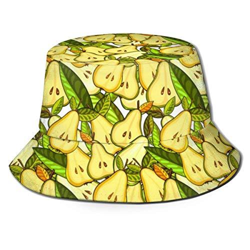 NA Sombrero para el Sol, Peras Amarillas Hojas Verdes Sombreros de Cubo, Bouffant para niños Sin Bola Gorra de Pescador de Moda para Trotar