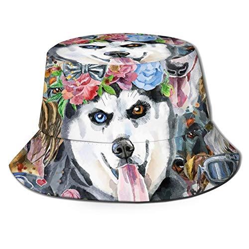 GAHAHA Fischerhüte für Herren, Muster von Hunden, Wandermütze, langlebig, UV-Schutz, Unisex, faltbar, Sommerhut für den Außenbereich