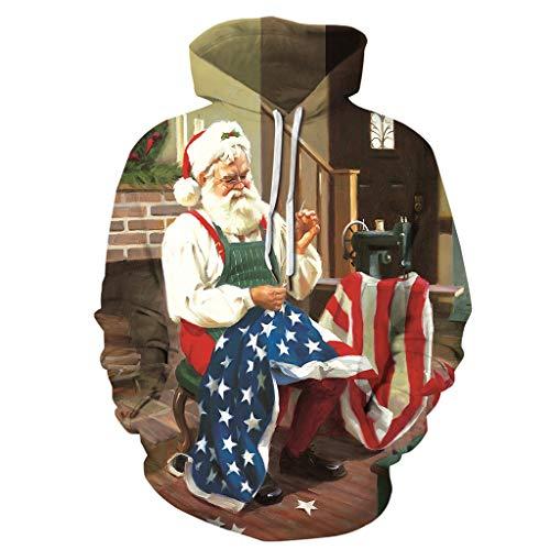 iYmitz Damen Herren 3D Druck Weihnacht Kapuzenpullover Hoodie Sweatshirt Grafik Langarm Pullover Top Jumper Unterhaltung Shirt Bunt Festival Party Kleidung S-3XL
