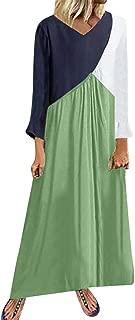 KYLEON Women Long Sleeve Splicing Long Dress Summer Boho Loose Flowy Pockets Maxi Dress Casual Beach Sundress Tunic Dress