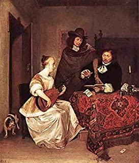 Metal Sign Terborch Gerard A Young Woman Playing A Theorbo To Two Men 5 A4 12x8 Aluminium