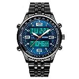 Gokelly Skmei hombre Sport analógico Digital negro banda de acero alarma cronógrafo reloj de pulsera azul