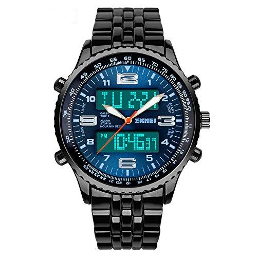 SKMEI Männers Sport Analog-Digital Schwarz Stahlband Alarm Chronograph Banduhr-Blau