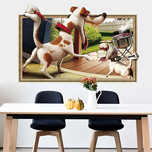 3-dimensionale-Wand-Aufkleber 3D-Comic-Hund Grill Spaß dekorative Wandaufkleber