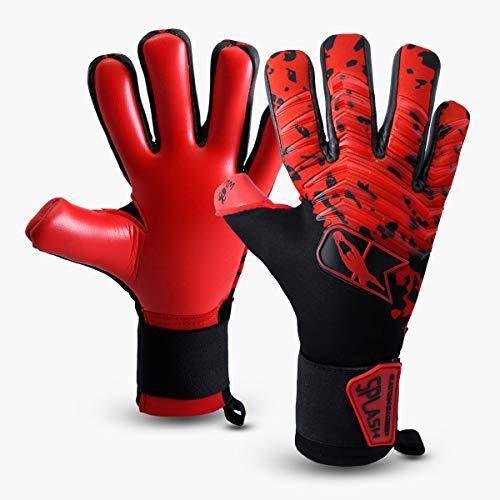 CATCH&KEEP Profi Torwarthandschuhe für Erwachsene - maximaler Grip - Premium Modell - Tormannhandschuhe Fussball - mit unserem Octopus Grip (Splash - Rot, 8)