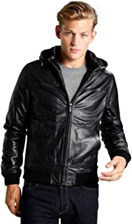 The Leather Alley Men Pure Lambskin Leather Jacket Black Coat with Hood