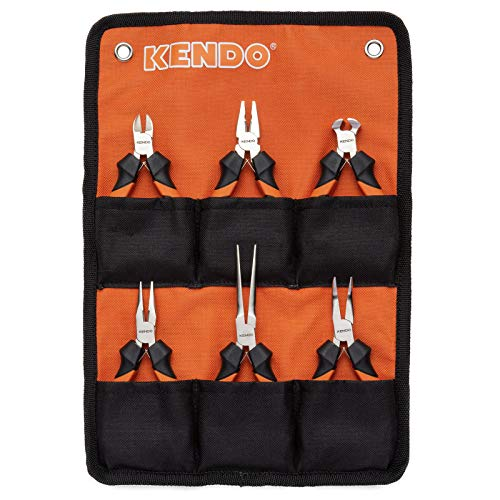 KENDO 6-Pieces Mini Pliers Set - Long, Bent, Needle Nose, Diagonal, End Cut, Combination - Spring Loaded Handle, 4.5 Inch - Mechanic, Craftsman Basic Tool Kit - Roll Up Carry Bag Included