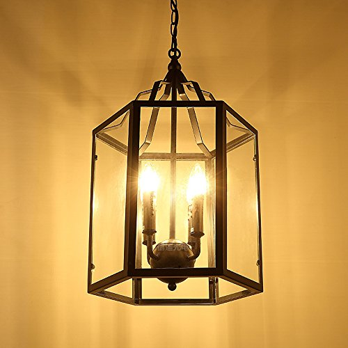 YanCui@ Soggiorno e sala/bar/sala da pranzo/camera da letto Lampadari Lampadario in vetro di uccello gabbia in ferro battuto