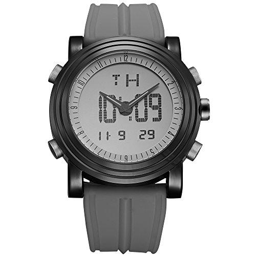 BUREI Digitale Herren Uhren Analog LED Multifunktion Sport Armbanduhr mit Alarm Stoppuhr und Kautschuk Armband
