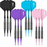 CyeeLife Soft tip Darts 17g-100Tips-12Flights-12 Aluminum shafts with Rubber Rings