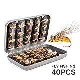 Pesca con Mosca, RoseFlower Premium Cebos Artificiales de Pesca Moscas Secas Cebo de Pesca Señuelos...