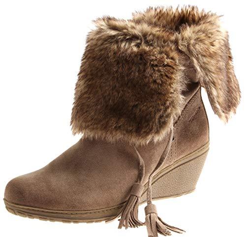 Tamaris 1-25413 Damen Keilsteifelette Damenschuhe Wedge Leder Stiefelette Winter Farbe Stone, Schuhgröße 42