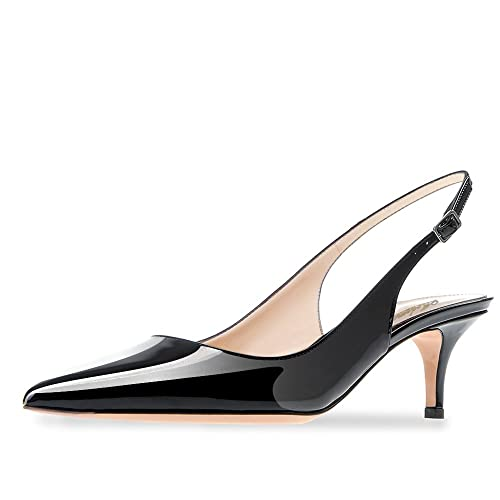 53eccd63e61 MODEMOVEN Women s Black Patent Leather Pointed Toe Slingback Ankle Strap  Kitten Heels Pumps Evening Stiletto Shoes